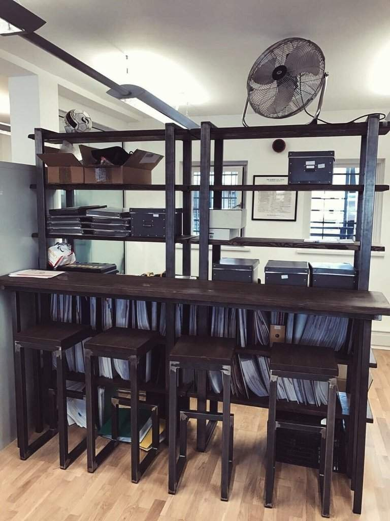 industrial style office. Each Item Is A Bespoke Version Of Our Standard Furniture Piece, Handcrafted To Fit The Needs Individual Work Space. Industrial Style Office