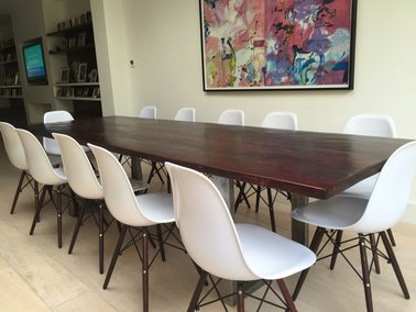 U Shaped Modern Dining Table In Walnut Colour