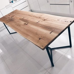 Solid Live Edge Oak Industrial Dining Table