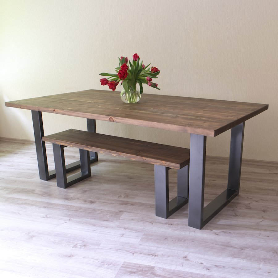 Modern Industrial Dining Table Sets: U Shaped Legs Modern Industrial Dining Table