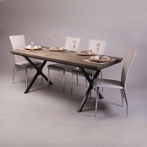 X Shaped Legs Industrial Dining Table