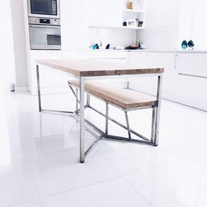 Solid Oak Stainless Steel Dining Table