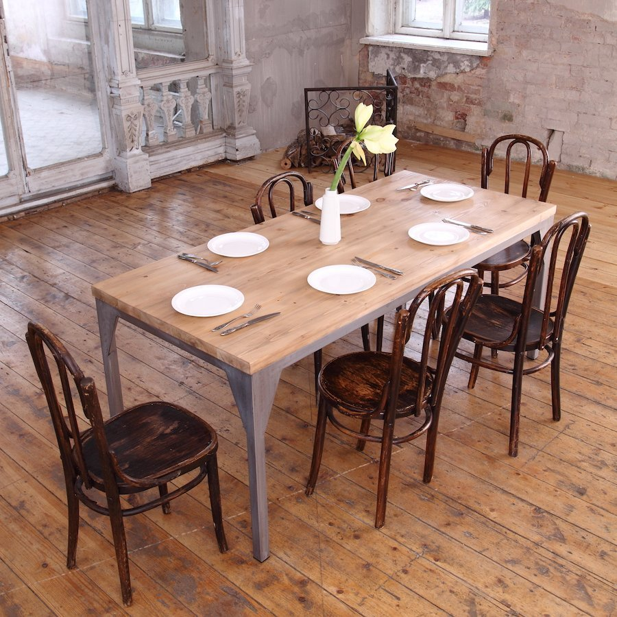 industrial dining table affordable wood metal dining
