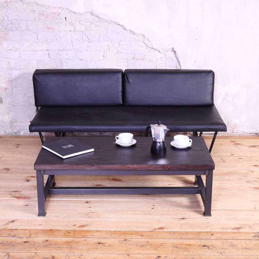 Sleek steel industrial style coffee table Industrial metal coffee table
