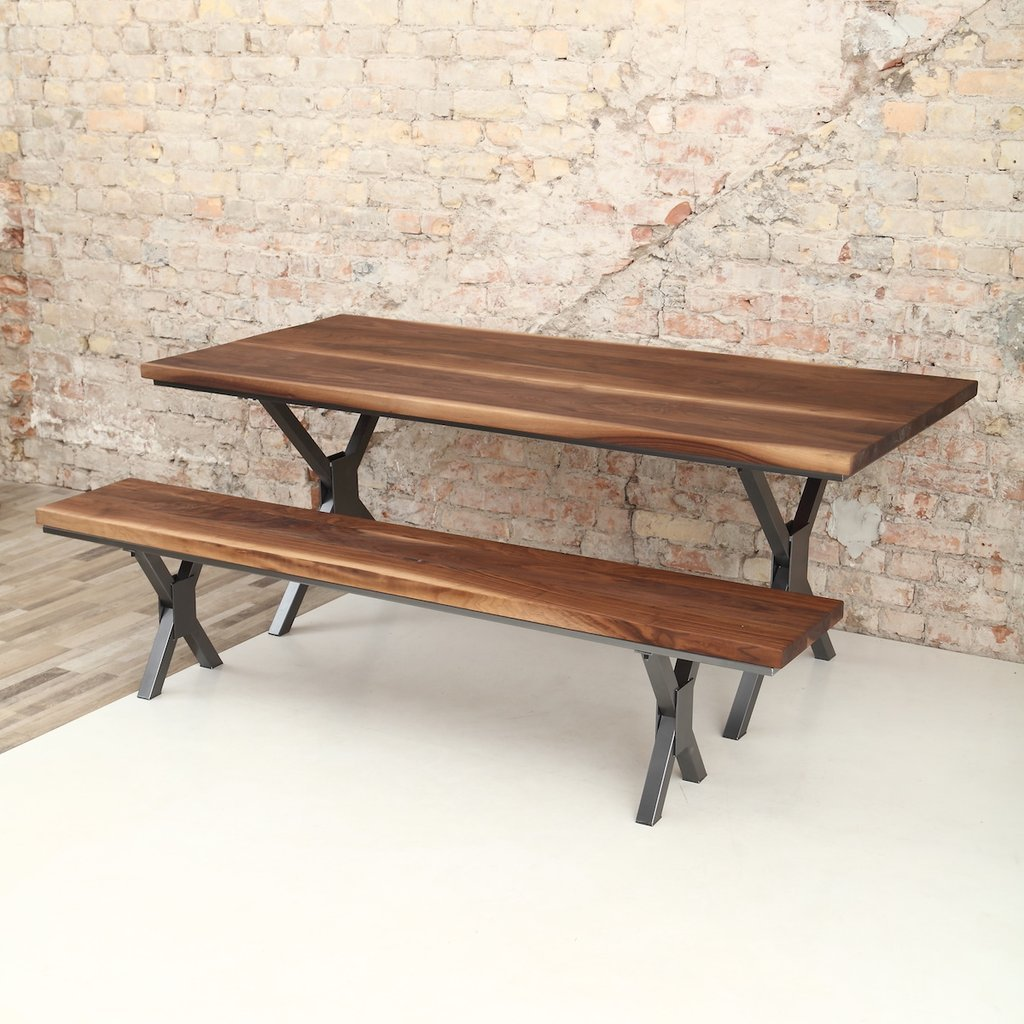 X shaped legs industrial walnut dining table for Table pliante largeur 85