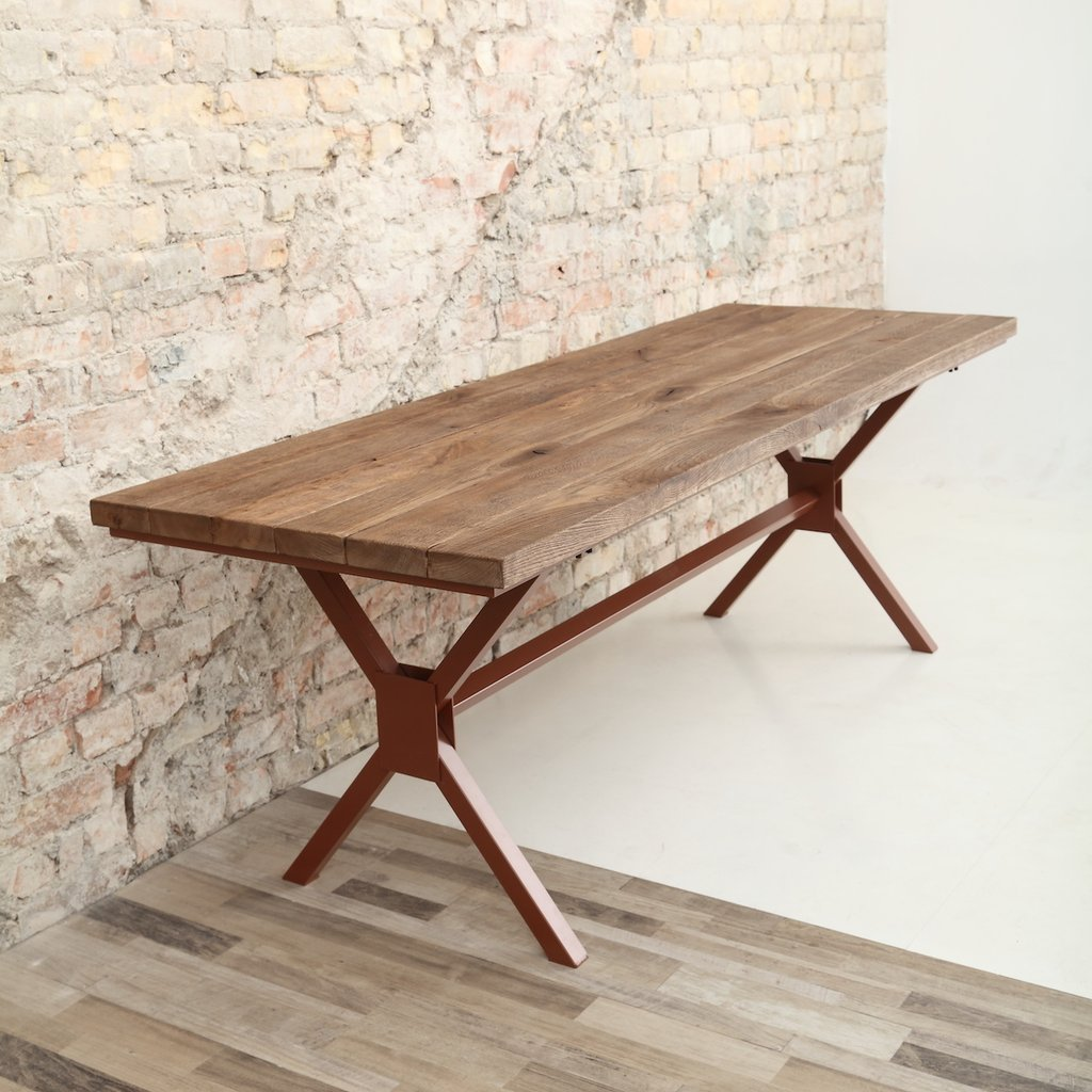 Rough oak x shaped legs dining table for Table 180 x 85