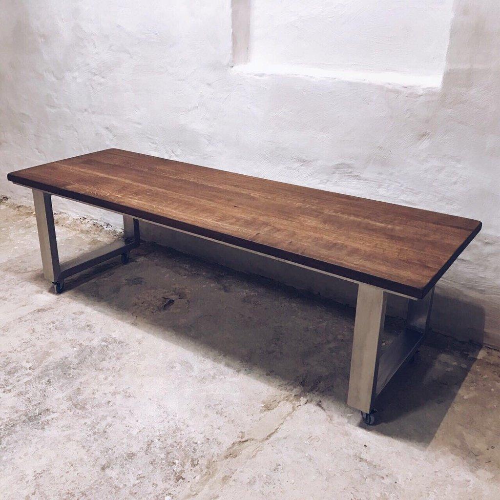Reclaimed Wood Coffee Table Stainless Steel Legs: U Shaped Stainless Steel Legs Oak Dining Table