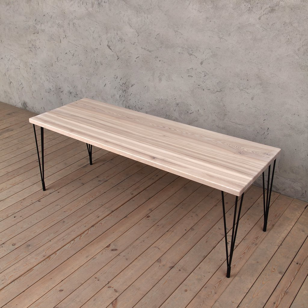 Miraculous Folly Solid Ash Dining Table With Hairpin Steel Legs Cosywood Download Free Architecture Designs Rallybritishbridgeorg