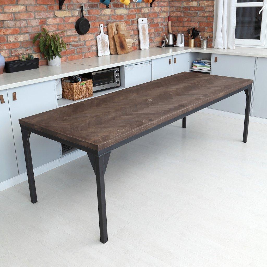 Captivating Oak Herringbone Contemporary Table