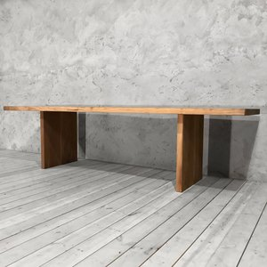 Walnut Dining Table with Slab Legs