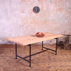Metal Pipe Legs Industrial Style Dining Table