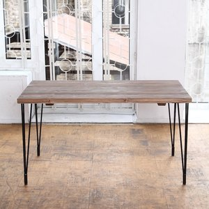 Industrial Style Barnwood Hairpin Legs Table