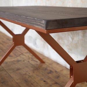 Copper X Shaped Legs Table
