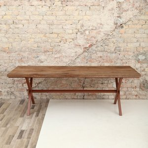 Rough Oak X Shaped Legs Dining Table