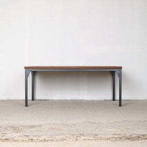 Contemporary Walnut Industrial Table