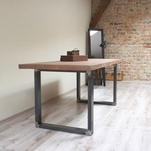 Tile Pattern Industrial Style U Shaped Dining Table