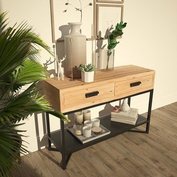 Solid Console Table with Drawers