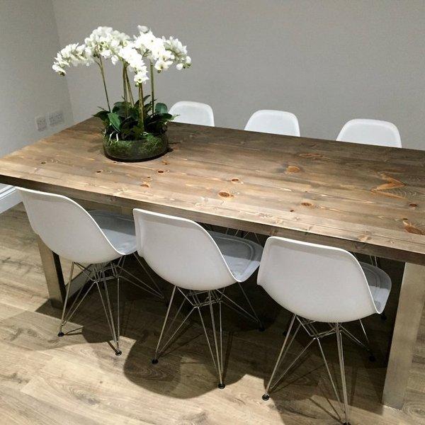 u shaped legs modern industrial dining table. Black Bedroom Furniture Sets. Home Design Ideas