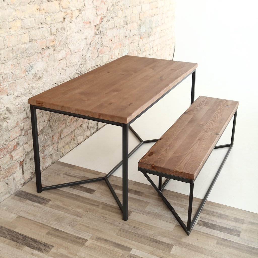 Bench Dining Vintage Industrial Bespoke Dining Table Bench: Tower Bespoke Industrial Dining Table For Sale In UK