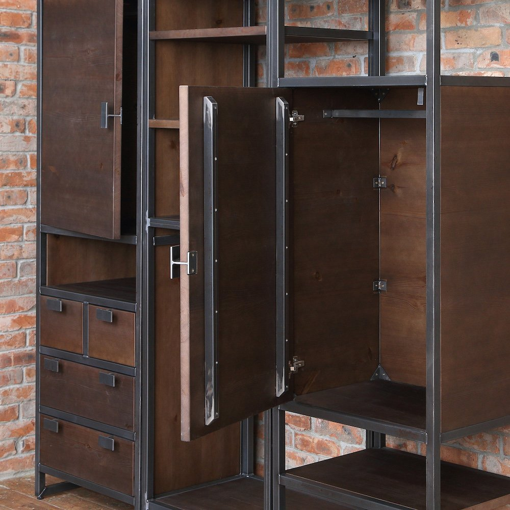 Industrial Style Solid Wood Wardrobe Unit Cosywood