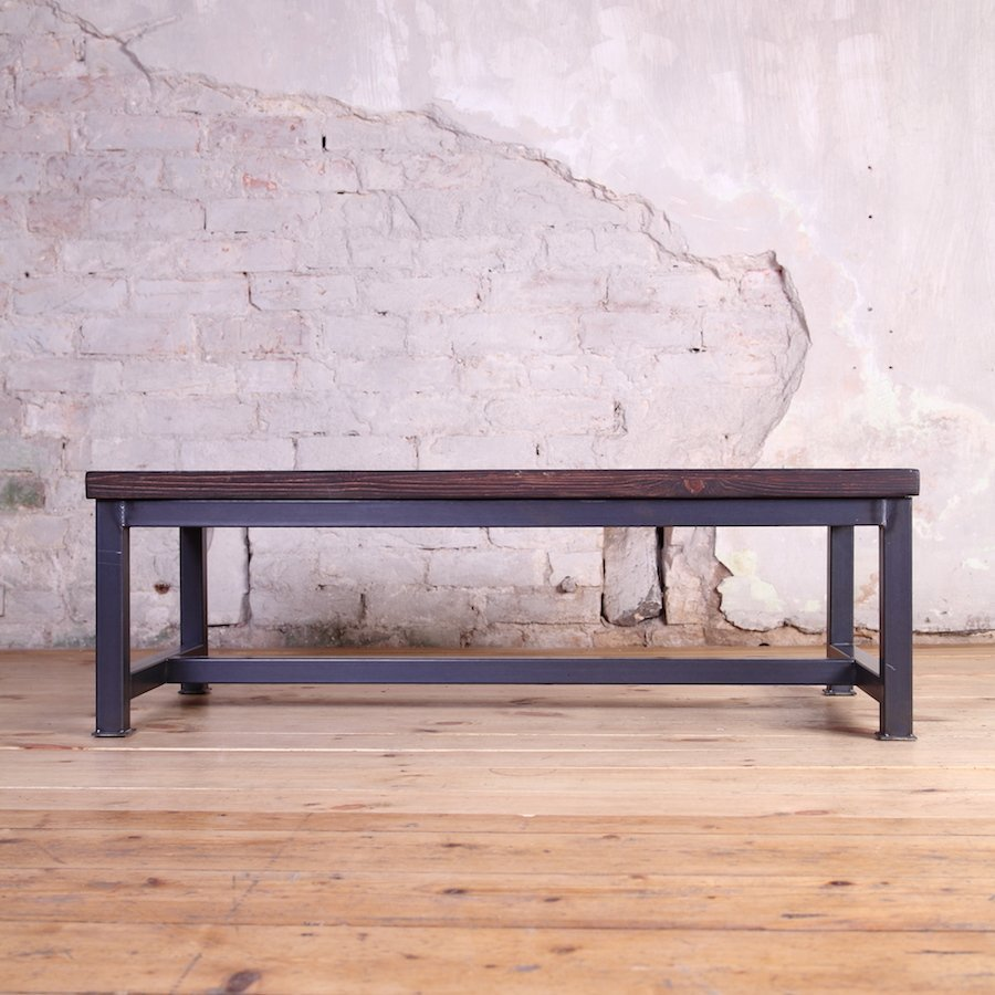Industrial Themed Coffee Table: Sleek Steel Industrial Style Coffee Table