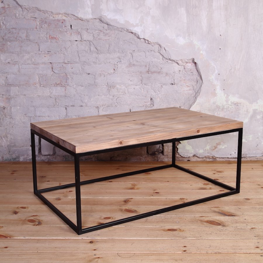 Industrial metal framed coffee table Industrial metal coffee table