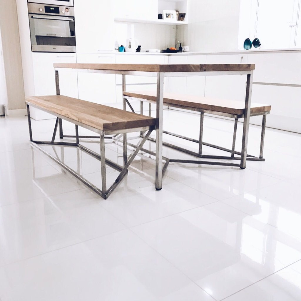 Solid oak stainless steel dining table for Stainless steel dining table