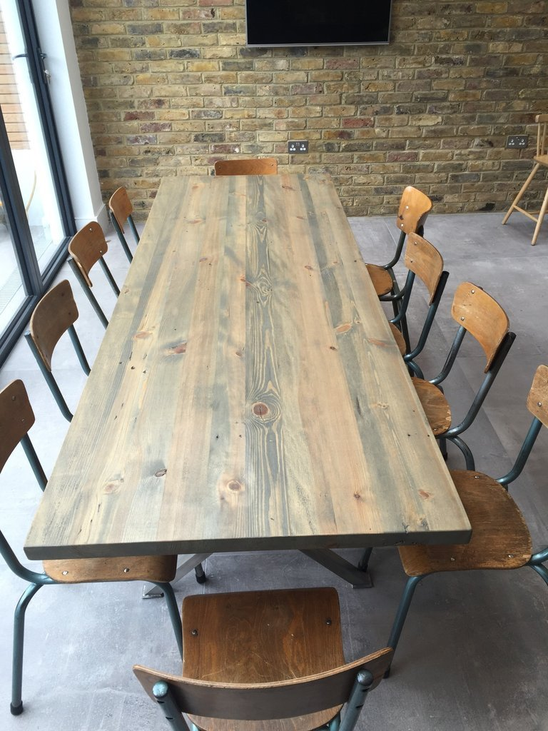 Kew Stainless Solid Wood Dining Table For Sale In Uk