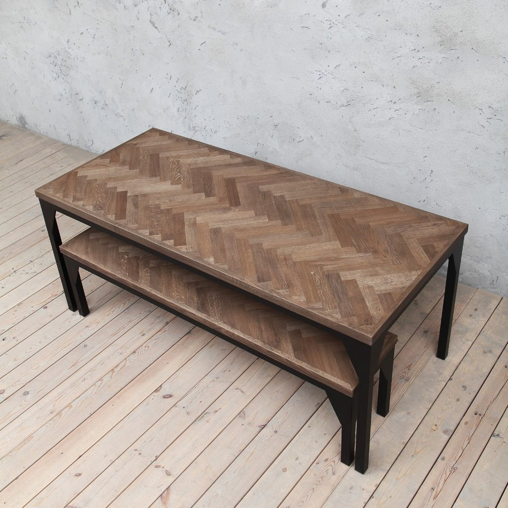 Waterloo Herringbone Oak Industrial Style Dining Table