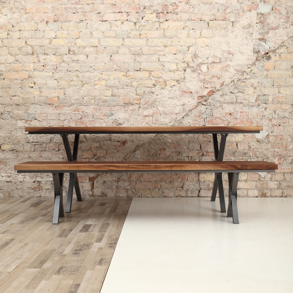 X Shaped Legs Industrial Walnut Dining Table  cosywood.co.uk