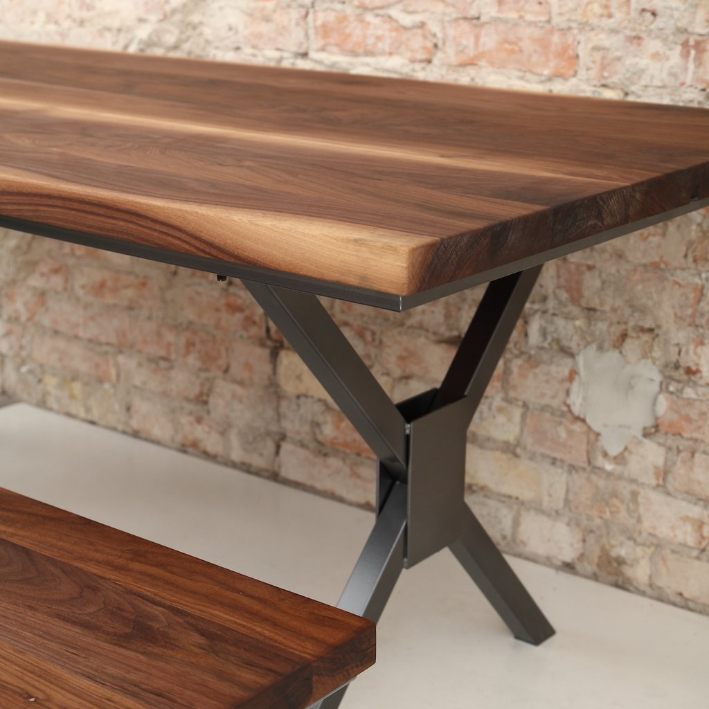X Shaped Legs Industrial Walnut Dining Table Cosywood Co Uk