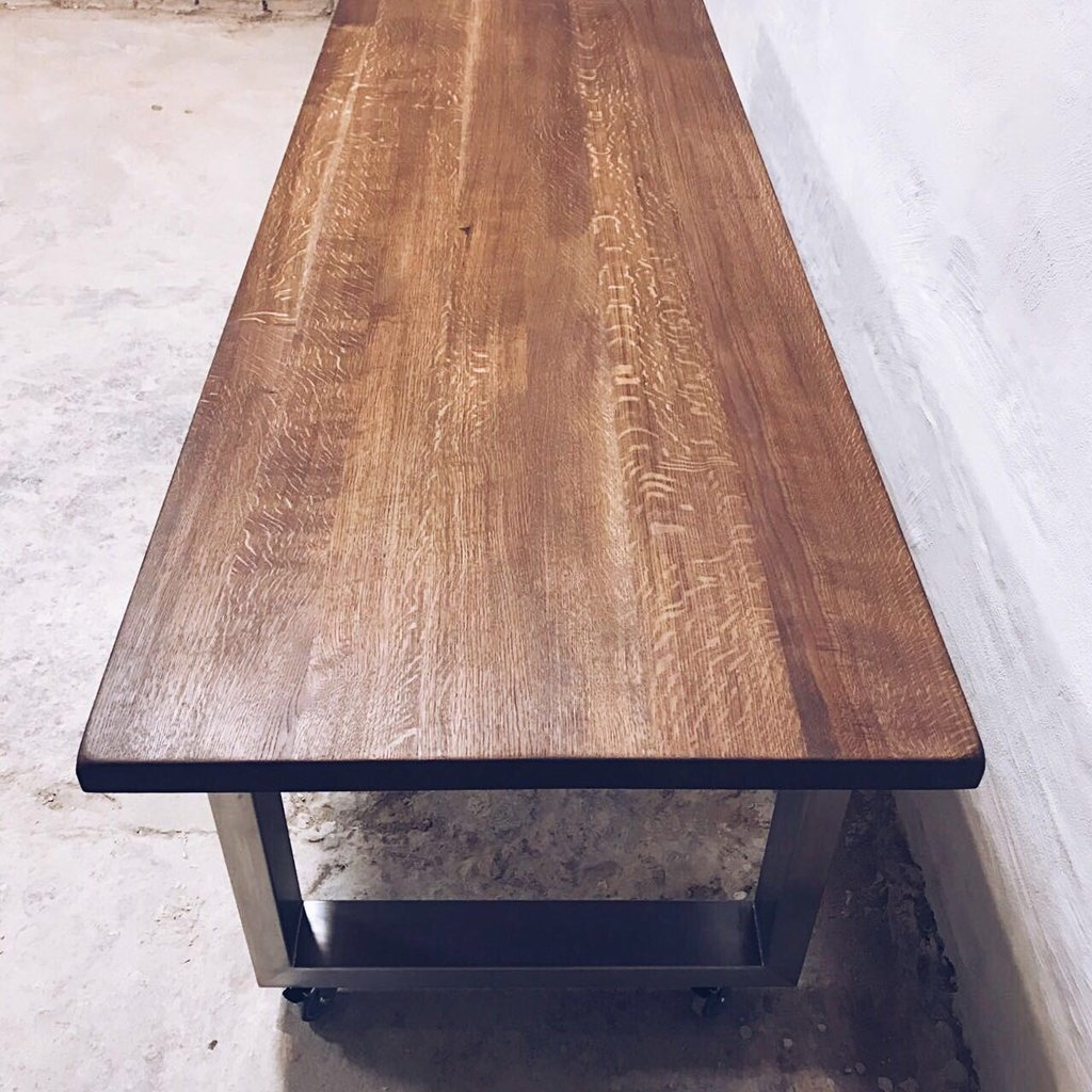 U shaped stainless steel legs oak dining table cosywood
