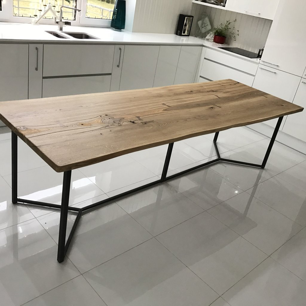 Solid Live Edge Oak Industrial Dining Table | cosywood.co.uk
