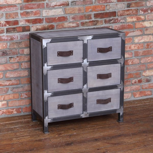 Industrial Style Solid Wood Square Storage Trunk 5 Drawer: Industrial Style Chest Of Drawers